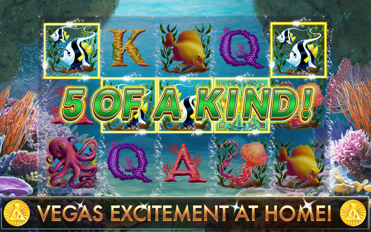 Lucky Fish slots winning 5 of a kind