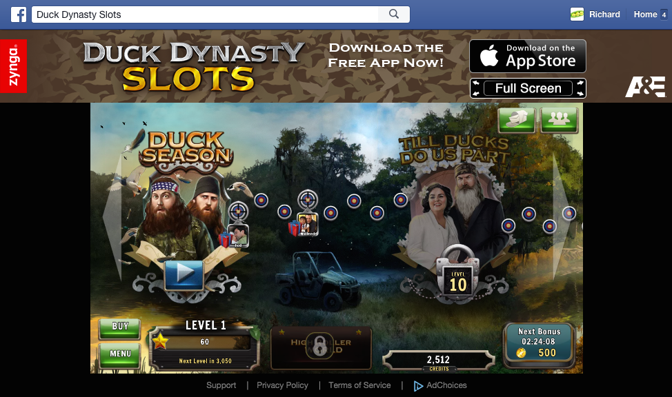 Duck Dynasty slots map screen