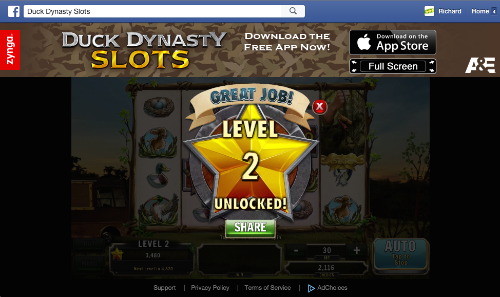 Duck Dynasty slots level 2 unlocked