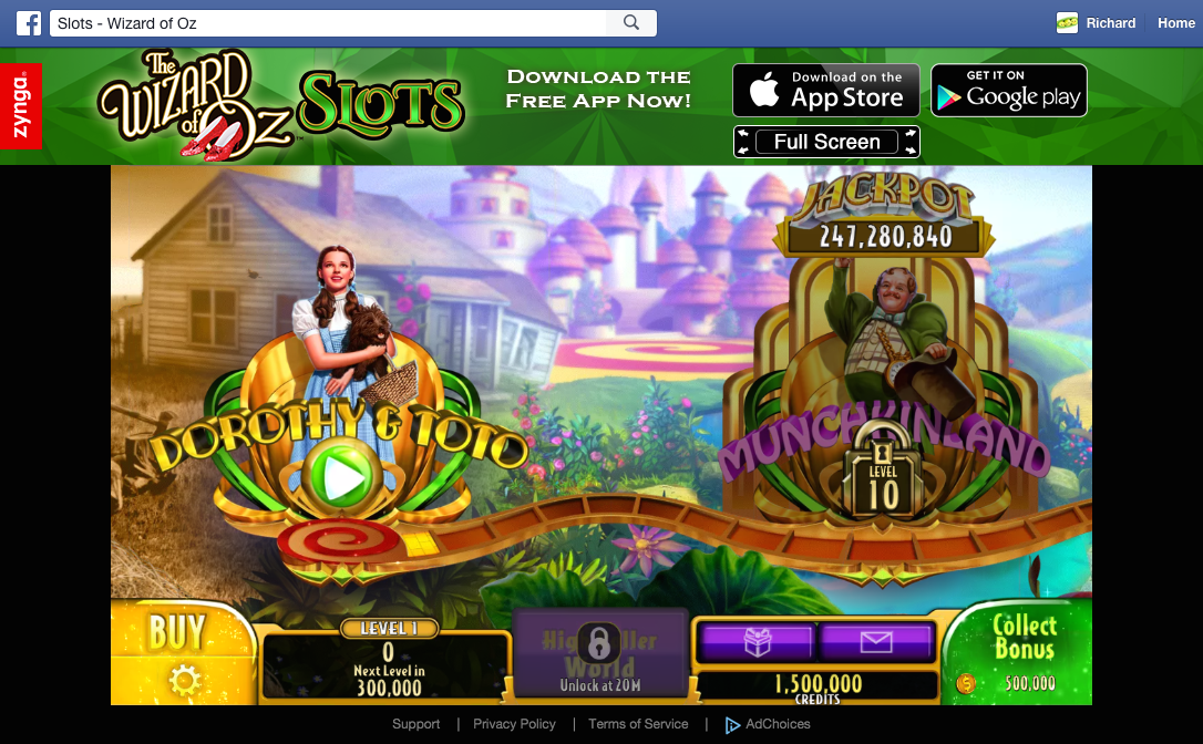 The Wizard of Oz Slots map screen