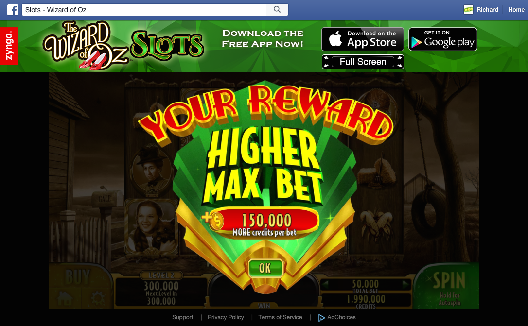 The Wizard of Oz Slots higher bet reward